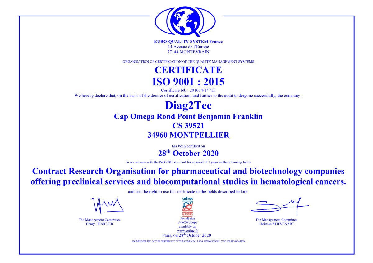 certification ISO 9001 Diag2Tec